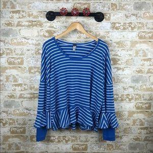 Free people blue stripe ruffle blouse
